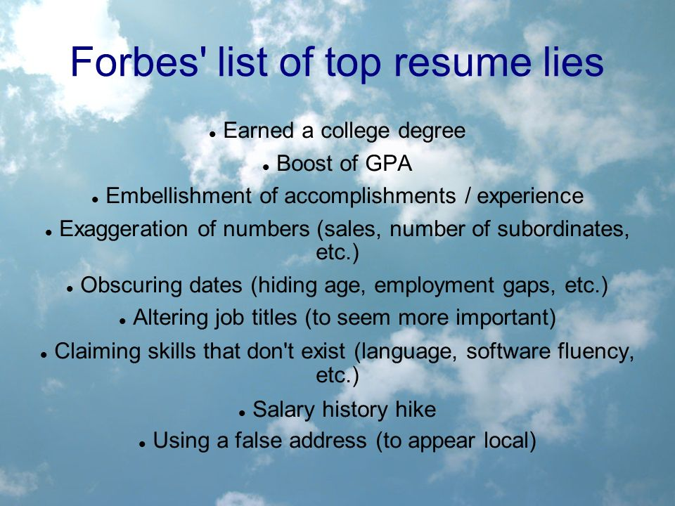 Summary Statement Resume Examples Word Job Search Ethics From Full Disclosure To Deceit Created By Brett  Store Clerk Resume Excel with Civil Engineer Resume Pdf  Forbes List Of Top Resume  Administrative Resume Samples Word