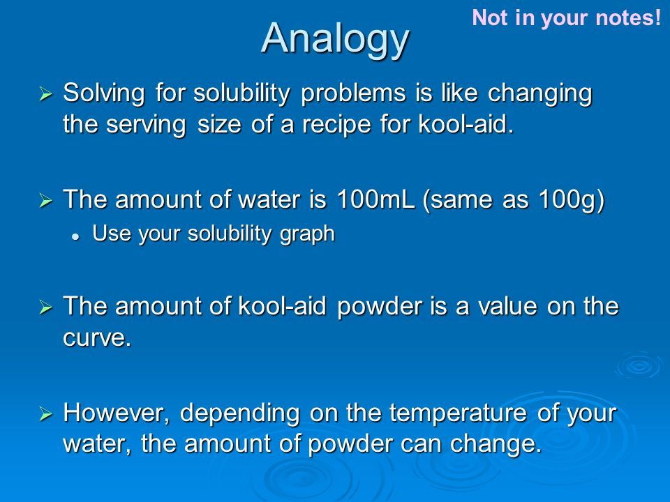 Analogy  Solving for solubility problems is like changing the serving size of a recipe for kool-aid.