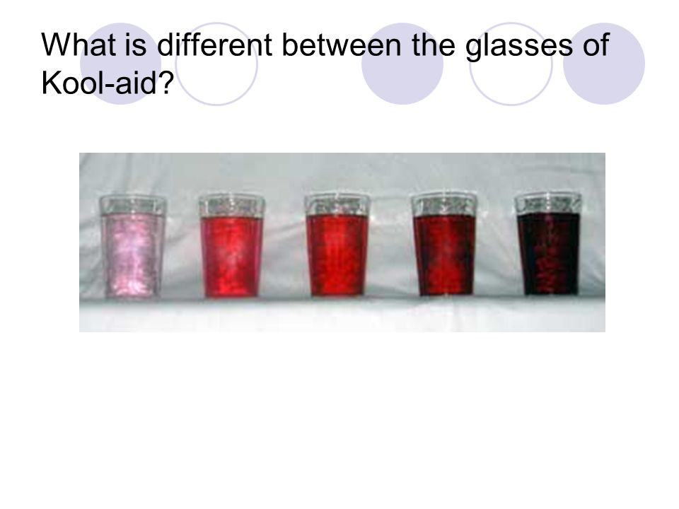 What is different between the glasses of Kool-aid?