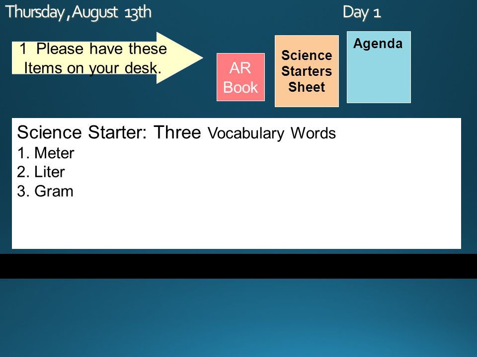 Thursday, August 13th Day 1 Science Starters Sheet 1.