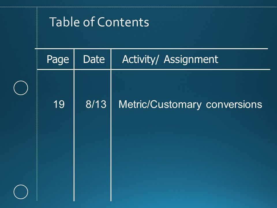 Page Date Activity/ Assignment 19 8/13 Metric/Customary conversions