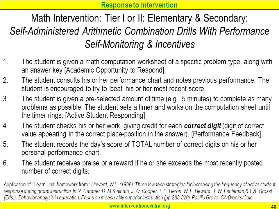 Math Interventions For Students With Learning Disabilities – Math Intervention Worksheets