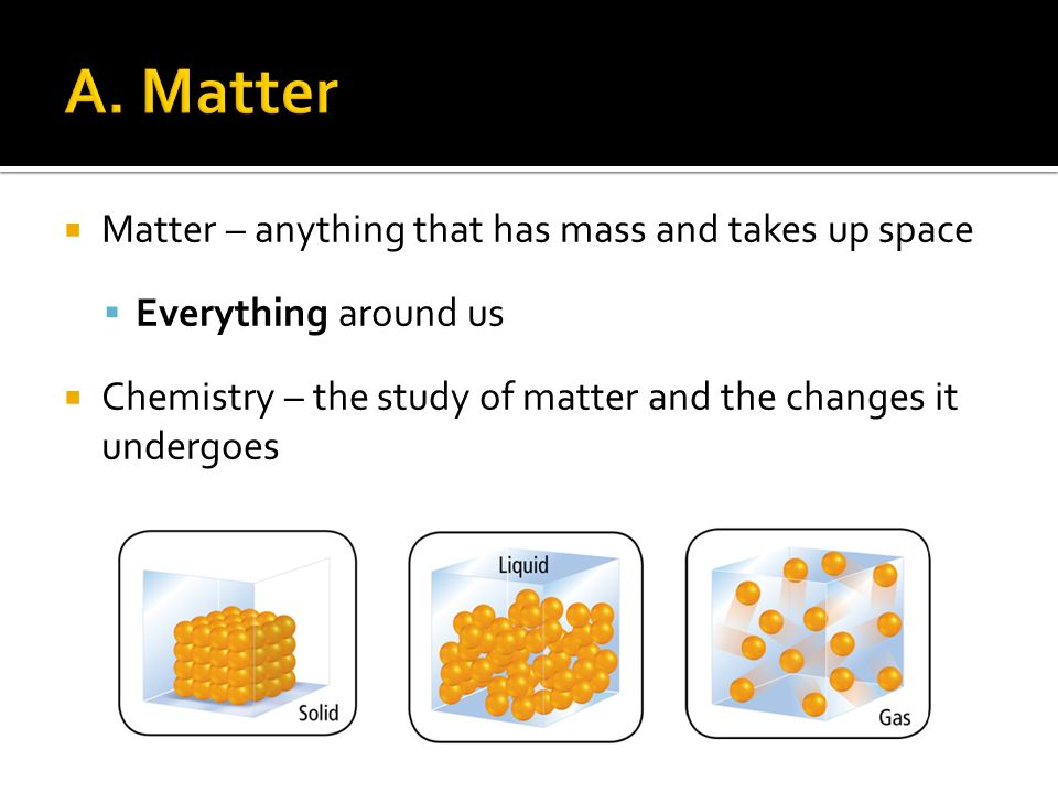  Matter – anything that has mass and takes up space  Everything around us  Chemistry – the study of matter and the changes it undergoes