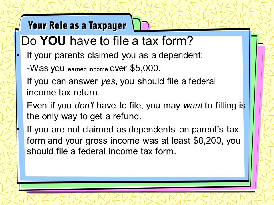 Do YOU have to file a tax form.