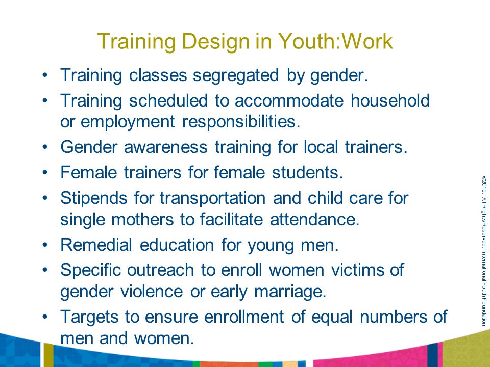 Training Design in Youth:Work Training classes segregated by gender.