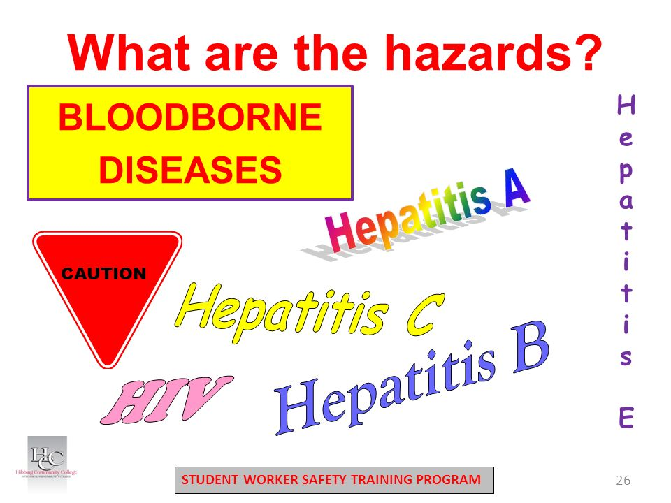 STUDENT WORKER SAFETY TRAINING PROGRAM 26 What are the hazards.