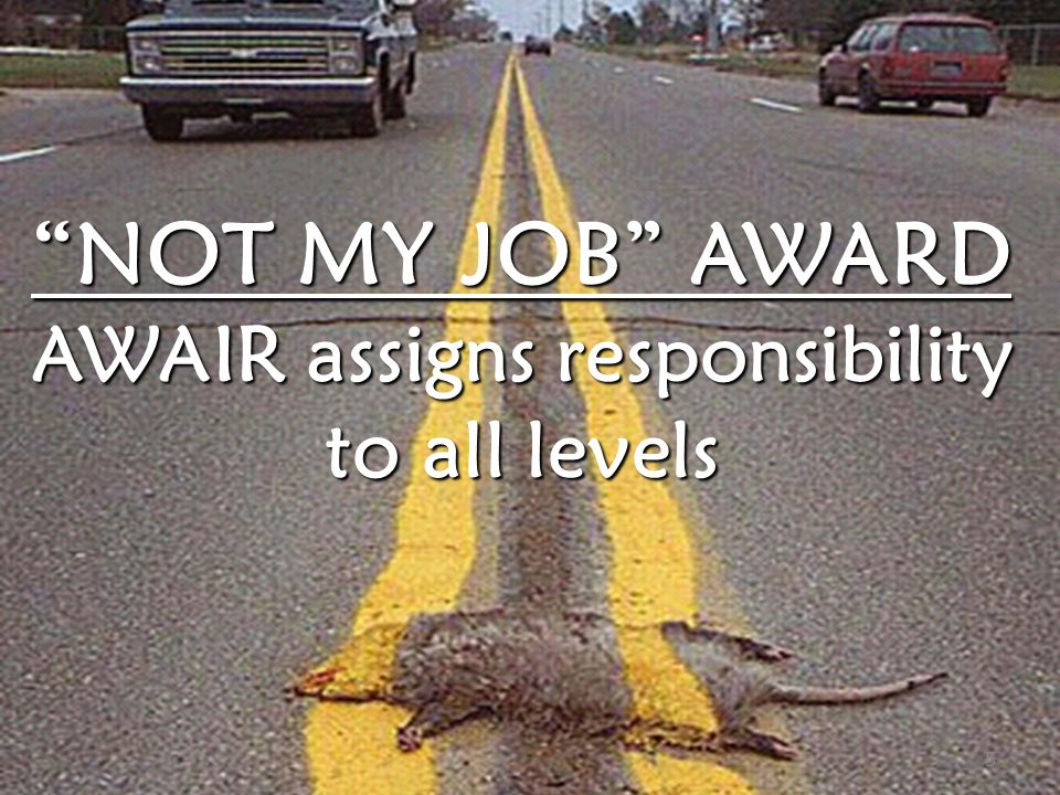 STUDENT WORKER SAFETY TRAINING PROGRAM NOT MY JOB AWARD AWAIR assigns responsibility to all levels 5