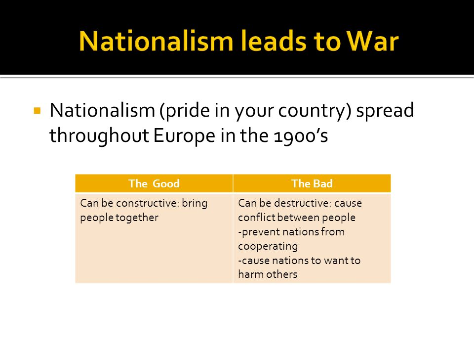  Nationalism (pride in your country) spread throughout Europe in the 1900's The GoodThe Bad Can be constructive: bring people together Can be destructive: cause conflict between people -prevent nations from cooperating -cause nations to want to harm others