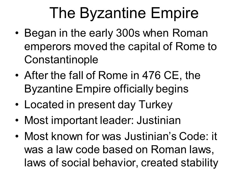 the fall of the r  empire in ce  ad  led to the start of    the byzantine empire began in the early  s when r  emperors moved the capital of rome