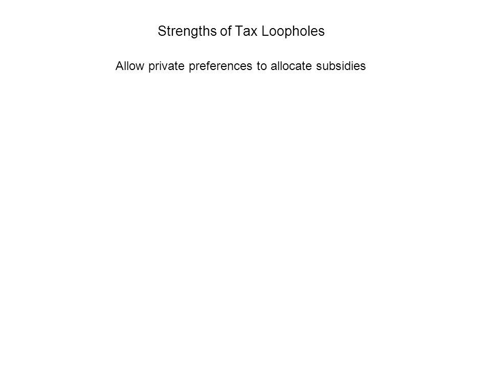 Strengths of Tax Loopholes Allow private preferences to allocate subsidies