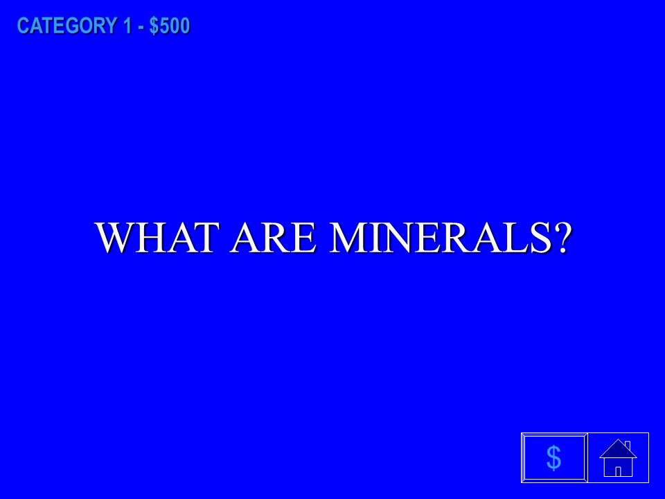 CATEGORY 1 - $400 WHAT IS WATER $