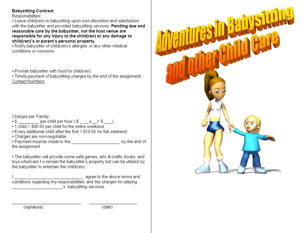 Babysitting Contract Responsibilities: Leave child(ren) in ...