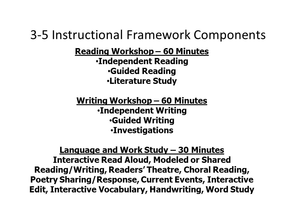 3-5 Instructional Framework Components Reading Workshop – 60 Minutes Independent Reading Guided Reading Literature Study Writing Workshop – 60 Minutes Independent Writing Guided Writing Investigations Language and Work Study – 30 Minutes Interactive Read Aloud, Modeled or Shared Reading/Writing, Readers' Theatre, Choral Reading, Poetry Sharing/Response, Current Events, Interactive Edit, Interactive Vocabulary, Handwriting, Word Study