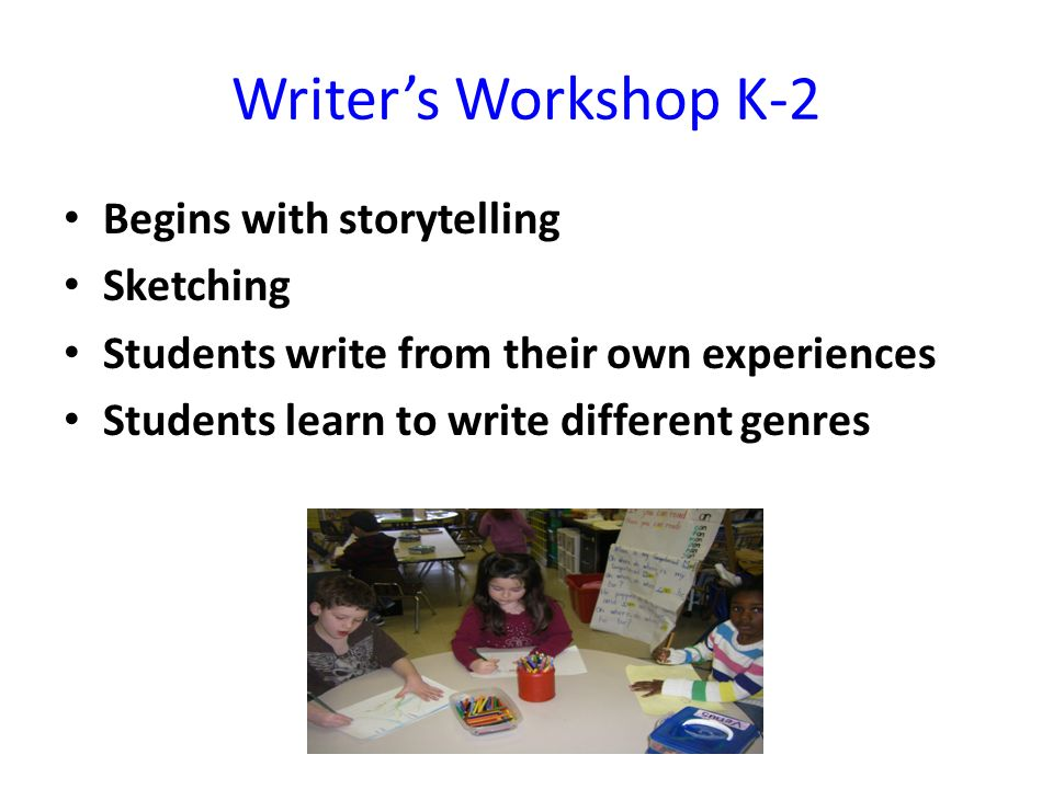 Writer's Workshop K-2 Begins with storytelling Sketching Students write from their own experiences Students learn to write different genres