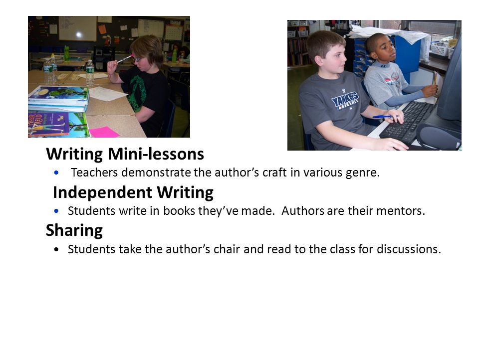 Writing Mini-lessons Teachers demonstrate the author's craft in various genre.