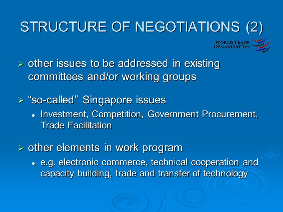 STRUCTURE OF NEGOTIATIONS (2)  other issues to be addressed in existing committees and/or working groups  so-called Singapore issues Investment, Competition, Government Procurement, Trade Facilitation Investment, Competition, Government Procurement, Trade Facilitation  other elements in work program e.g.