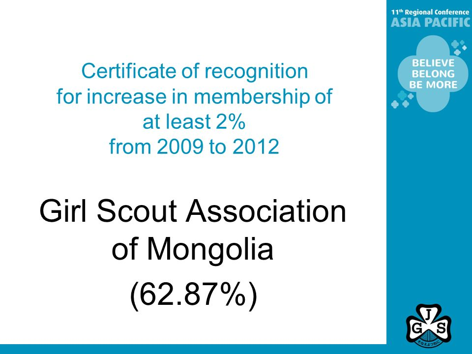 Certificate of recognition for increase in membership of at least 2% from 2009 to 2012 Girl Scout Association of Mongolia (62.87%)