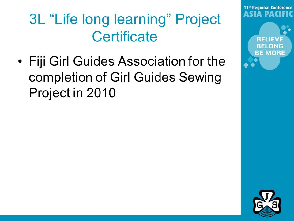 3L Life long learning Project Certificate Fiji Girl Guides Association for the completion of Girl Guides Sewing Project in 2010