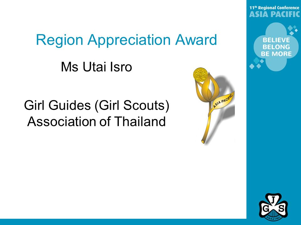 Region Appreciation Award Ms Utai Isro Girl Guides (Girl Scouts) Association of Thailand
