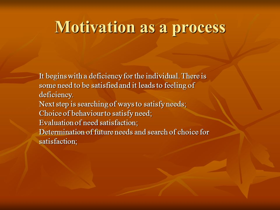 Process perspectives on motivation The process theories view motivation as an external process.they focus on why people choose certain behavioural options to fulfill their needs and how they evaluate their satisfaction after they have attained their goals.