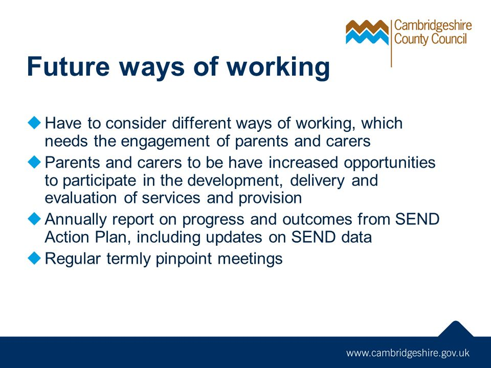 Future ways of working  Have to consider different ways of working, which needs the engagement of parents and carers  Parents and carers to be have increased opportunities to participate in the development, delivery and evaluation of services and provision  Annually report on progress and outcomes from SEND Action Plan, including updates on SEND data  Regular termly pinpoint meetings