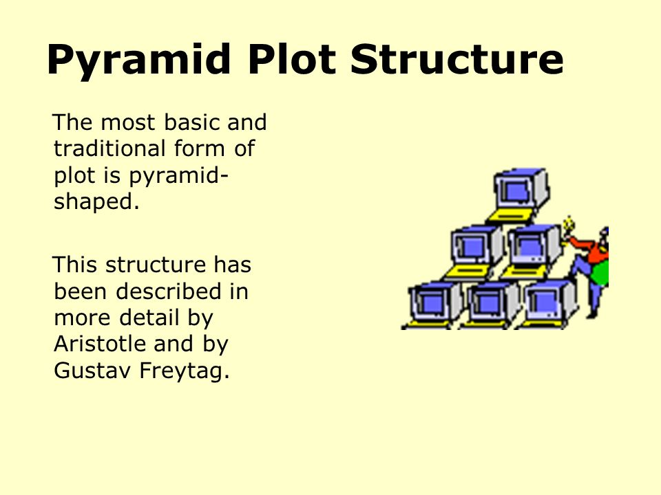 Pyramid Plot Structure The most basic and traditional form of plot is pyramid- shaped.
