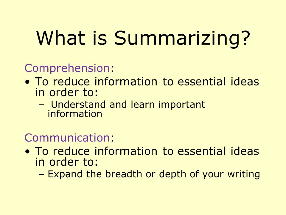 What is Summarizing.