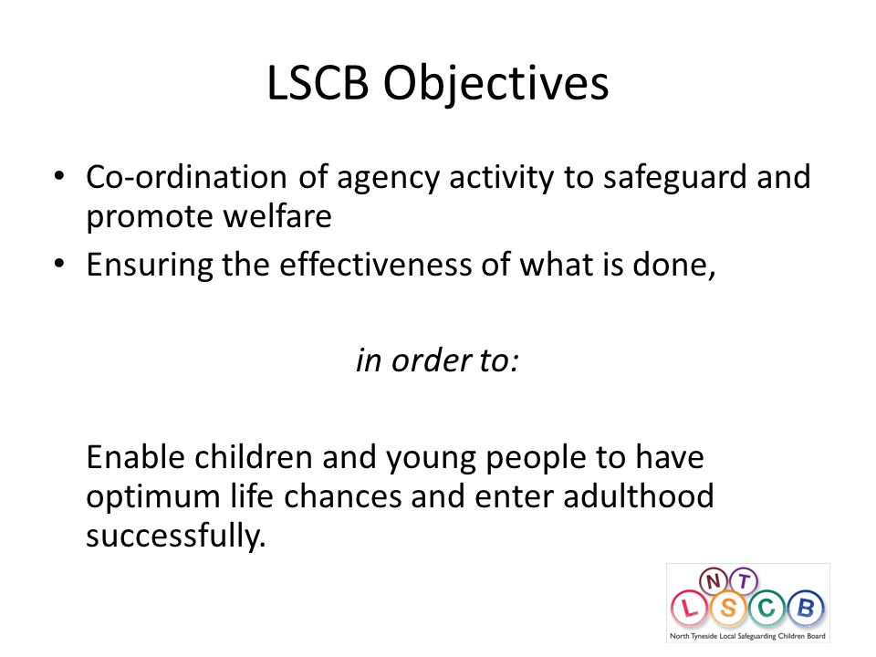 LSCB Objectives Co-ordination of agency activity to safeguard and promote welfare Ensuring the effectiveness of what is done, in order to: Enable children and young people to have optimum life chances and enter adulthood successfully.
