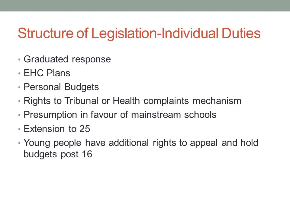 Structure of Legislation-Individual Duties Graduated response EHC Plans Personal Budgets Rights to Tribunal or Health complaints mechanism Presumption in favour of mainstream schools Extension to 25 Young people have additional rights to appeal and hold budgets post 16