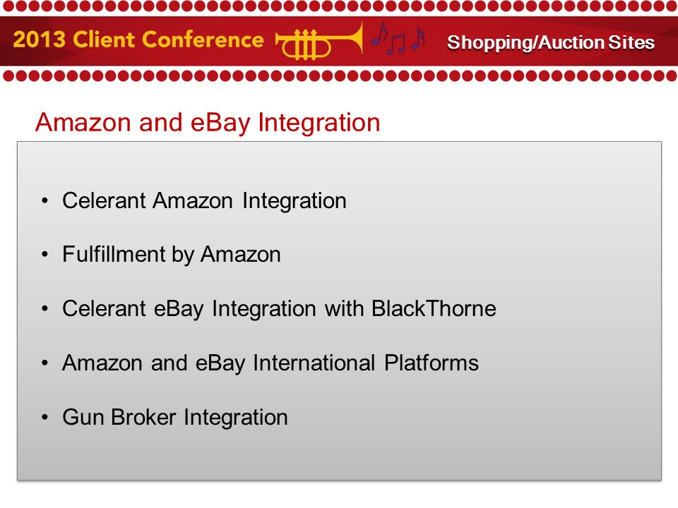 Amazon and eBay Integration Celerant Amazon Integration Fulfillment by Amazon Celerant eBay Integration with BlackThorne Amazon and eBay International Platforms Gun Broker Integration Amazon and eBay Integration Shopping/Auction Sites