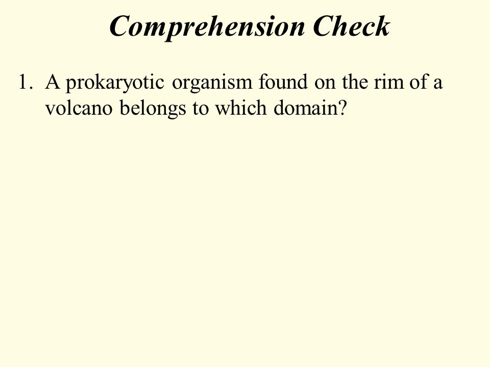 Comprehension Check 1.A prokaryotic organism found on the rim of a volcano belongs to which domain