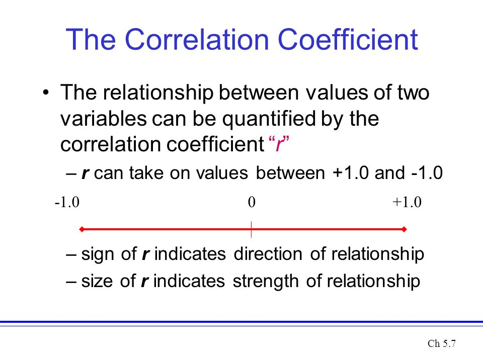 The Correlation Coefficient The relationship between values of two variables can be quantified by the correlation coefficient r –r can take on values between +1.0 and -1.0 –sign of r indicates direction of relationship –size of r indicates strength of relationship Ch 5.7
