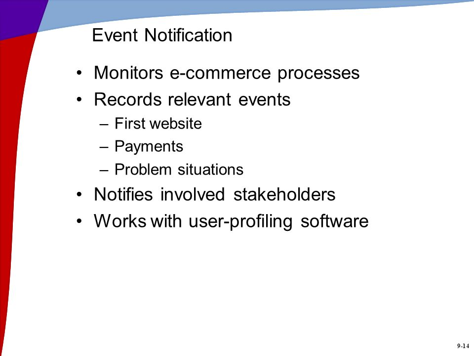 9-14 Event Notification Monitors e-commerce processes Records relevant events –First website –Payments –Problem situations Notifies involved stakehold