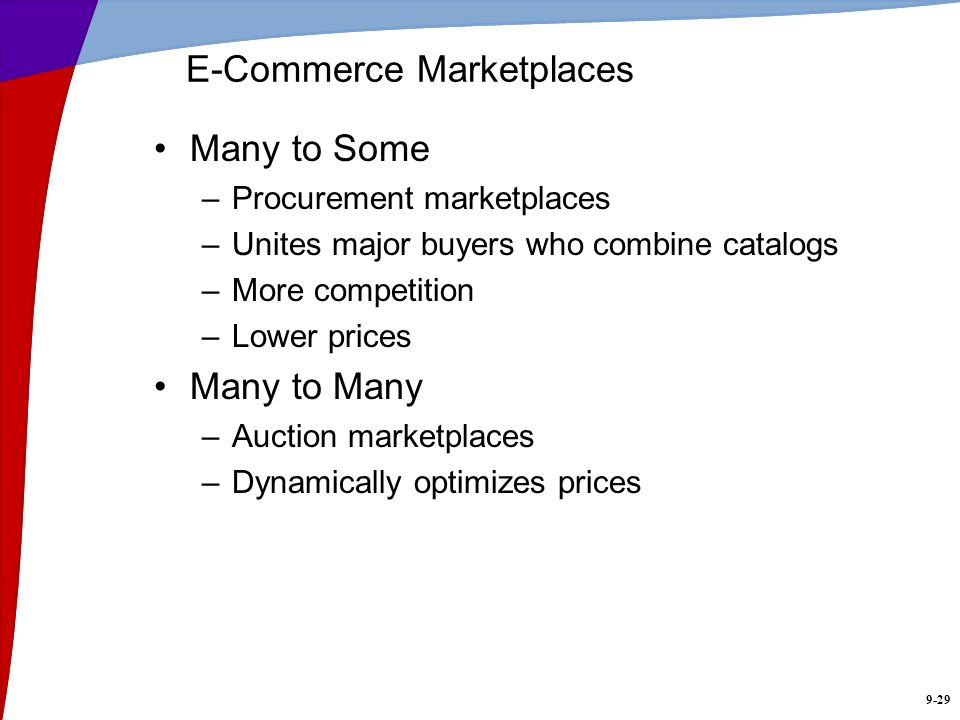 9-29 E-Commerce Marketplaces Many to Some –Procurement marketplaces –Unites major buyers who combine catalogs –More competition –Lower prices Many to