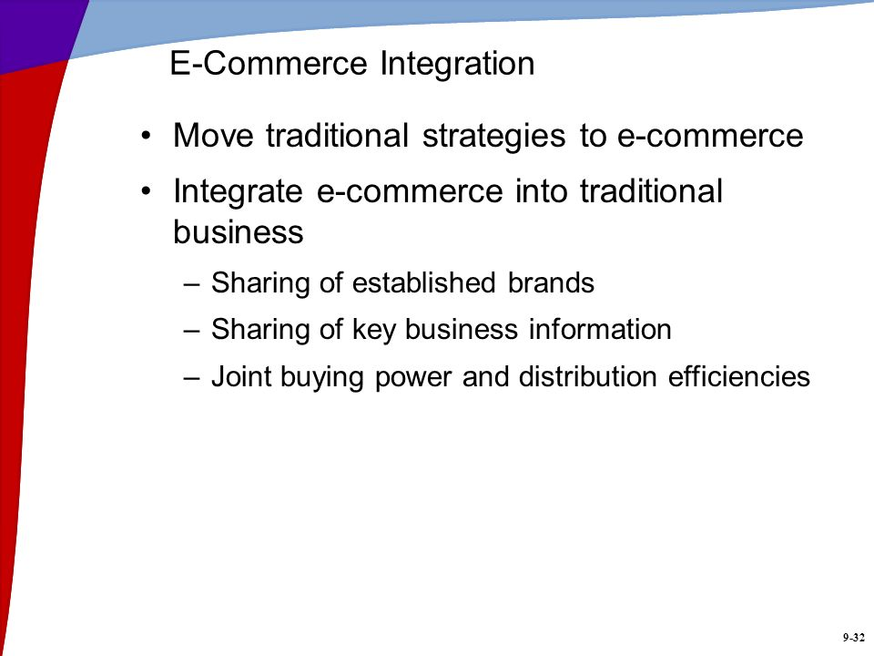 9-32 E-Commerce Integration Move traditional strategies to e-commerce Integrate e-commerce into traditional business –Sharing of established brands –S
