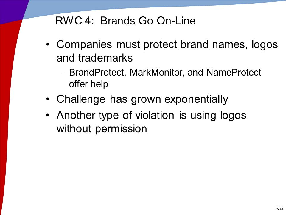 9-38 RWC 4: Brands Go On-Line Companies must protect brand names, logos and trademarks –BrandProtect, MarkMonitor, and NameProtect offer help Challeng