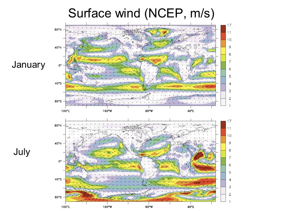 Surface wind (NCEP, m/s) January July