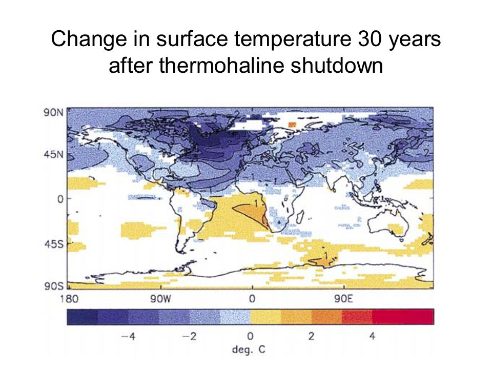 Change in surface temperature 30 years after thermohaline shutdown