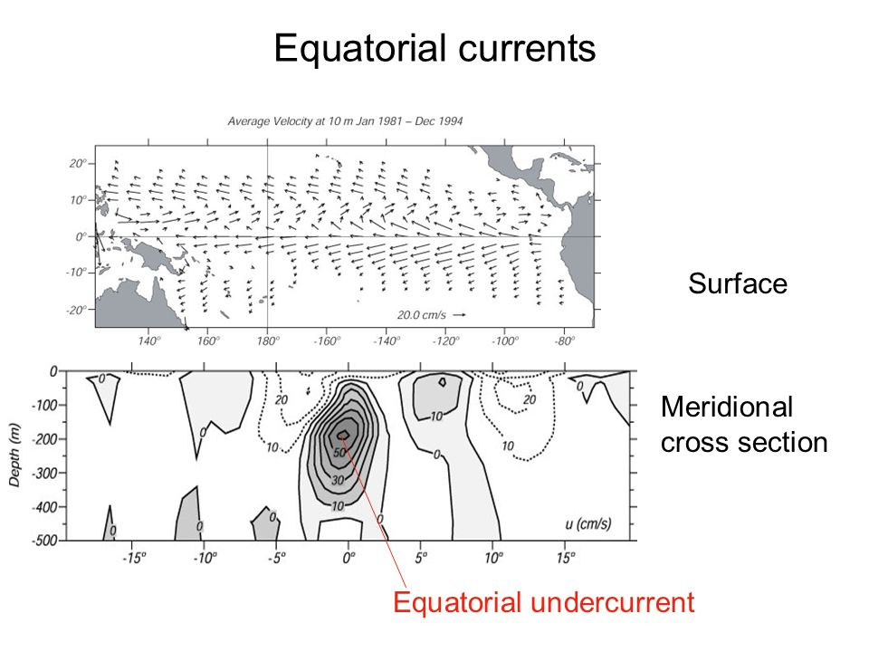 Equatorial currents Surface Meridional cross section Equatorial undercurrent