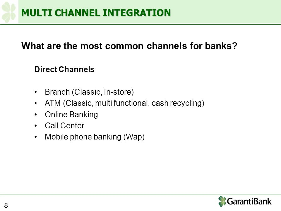 MULTI CHANNEL INTEGRATION What are the most common channels for banks.