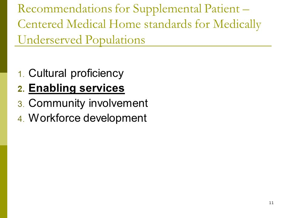 11 Recommendations for Supplemental Patient – Centered Medical Home standards for Medically Underserved Populations 1.