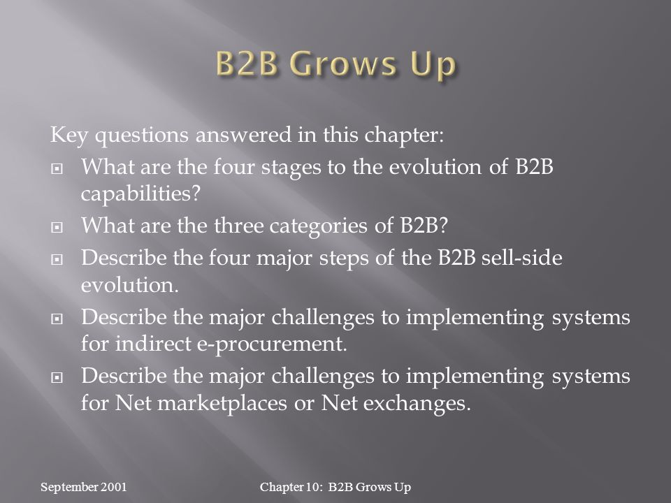 Key questions answered in this chapter:  What are the four stages to the evolution of B2B capabilities.