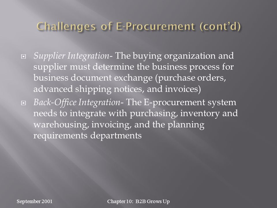  Supplier Integration - The buying organization and supplier must determine the business process for business document exchange (purchase orders, advanced shipping notices, and invoices)  Back-Office Integration - The E-procurement system needs to integrate with purchasing, inventory and warehousing, invoicing, and the planning requirements departments September 2001Chapter 10: B2B Grows Up