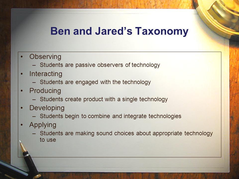 Ben and Jared's Taxonomy Observing –Students are passive observers of technology Interacting –Students are engaged with the technology Producing –Students create product with a single technology Developing –Students begin to combine and integrate technologies Applying –Students are making sound choices about appropriate technology to use