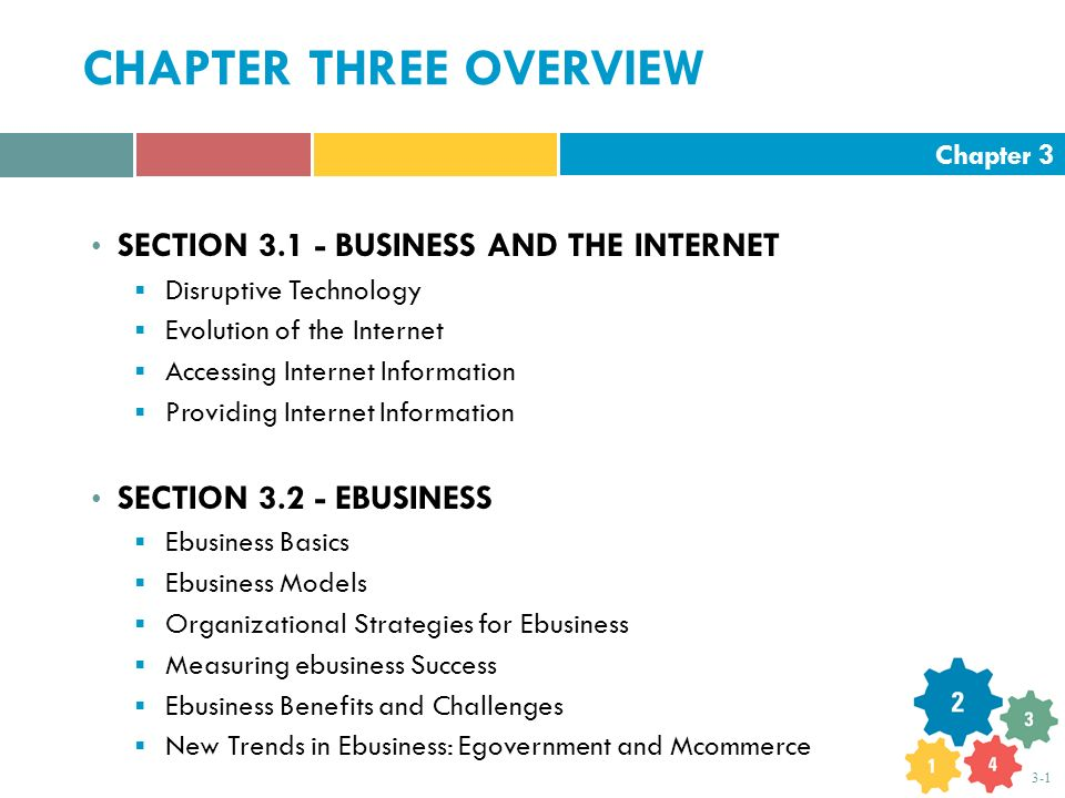 Chapter 3 3-1 CHAPTER THREE OVERVIEW SECTION 3.1 - BUSINESS AND THE INTERNET  Disruptive Technology  Evolution of the Internet  Accessing Internet