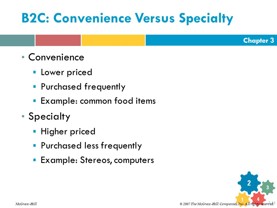 Chapter 3 3-14 B2C: Convenience Versus Specialty Convenience  Lower priced  Purchased frequently  Example: common food items Specialty  Higher pri
