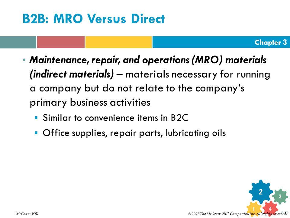 Chapter 3 3-17 B2B: MRO Versus Direct Maintenance, repair, and operations (MRO) materials (indirect materials) – materials necessary for running a com