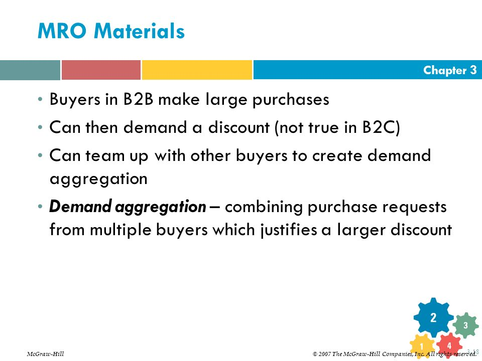 Chapter 3 3-18 MRO Materials Buyers in B2B make large purchases Can then demand a discount (not true in B2C) Can team up with other buyers to create d