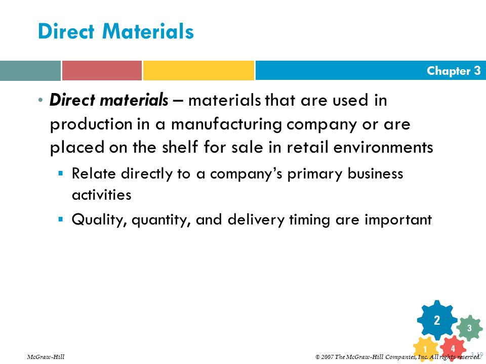 Chapter 3 3-19 Direct Materials Direct materials – materials that are used in production in a manufacturing company or are placed on the shelf for sal