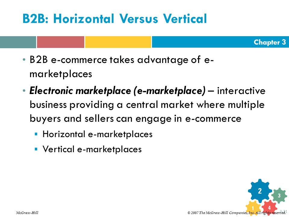 Chapter 3 3-21 B2B: Horizontal Versus Vertical B2B e-commerce takes advantage of e- marketplaces Electronic marketplace (e-marketplace) – interactive